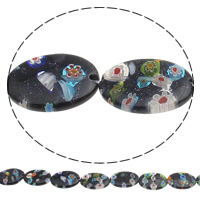 Bluesand Millefiori Glass Beads, Flat Oval, handmade, 18x25mm, Hole:Approx 1mm, Length:Approx 14 Inch, Approx 14PCs/Strand, Sold By Strand