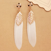 Fashion Feather Earring , Zinc Alloy, with Feather, brass post pin, gold color plated, with rhinestone, 75mm, Sold By Pair