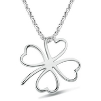 Sterling Silver Clover Pendant, 925 Sterling Silver, Four Leaf Clover, 16x18mm, Hole:Approx 6mm, Sold By PC