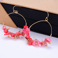 Resin Zinc Alloy Earring, with Resin, stainless steel earring hook, gold color plated, 45.5x52.2mm, Sold By Pair