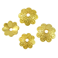 Brass Bead Cap, Flower, gold color plated, different size for choice, Hole:Approx 1.5mm, Sold By PC