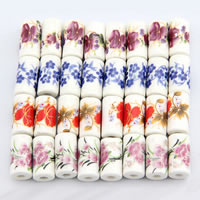 Printing Porcelain Beads, Tube, different designs for choice, 9x17mm, Hole:Approx 3mm, 500PCs/Bag, Sold By Bag