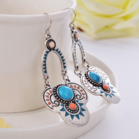 Resin Zinc Alloy Earring, with Resin, stainless steel earring hook, antique silver color plated, imitation turquoise & enamel, 53.7x27.9mm, Sold By Pair