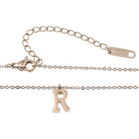 Stainless Steel Jewelry Necklace, with 2.5lnch extender chain, Letter R, rose gold color plated, oval chain, 1.4x1x0.2mm, 6x10x3mm, Length:Approx 15.5 Inch, Sold By Strand