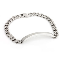 Stainless Steel ID Plate Bracelet, curb chain & for man, original color, 8mm, Length:8.4 Inch, Sold By Strand