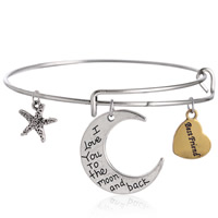 Adjustable Wire Bangle, Zinc Alloy, with Iron, word I love you to the moon and back, plated, with letter pattern & two tone, nickel, lead & cadmium free, 65mm, Inner Diameter:Approx 60mm, Length:Approx 7 Inch, Sold By PC