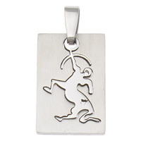 Stainless Steel Pendants, Rectangle, original color, 18x27x2mm, Hole:Approx 3x7mm, Sold By PC