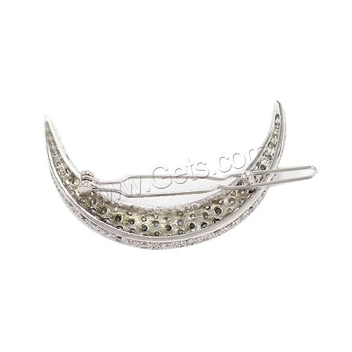 Hair Clip, Zinc Alloy, Moon, platinum color plated, with rhinestone