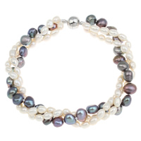 Cultured Freshwater Pearl Bracelets, brass magnetic clasp, 3-strand & two tone, 4-5mm, 7-8mm, Length:Approx 7.5 Inch, Sold By Strand