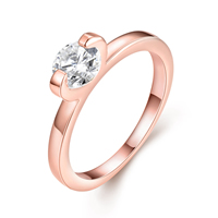 comeon® Finger Ring, Brass, real rose gold plated, different size for choice & with cubic zirconia, 8mm, Sold By PC