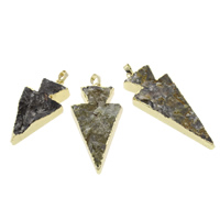 Ice Quartz Agate Pendants, with Brass, natural, mixed colors, 24x48x11mm-25x66x8mm, Hole:Approx 5x7mm, Sold By PC