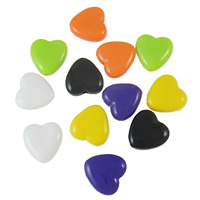 Solid Color Acrylic Beads, Heart, mixed colors, 13x13x5mm, Hole:Approx 2mm, Approx 830PCs/Bag, Sold By Bag