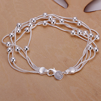 comeon® Jewelry Bracelet, Brass, real silver plated, snake chain & 5-strand, Length:Approx 7.8 Inch, Sold By Strand