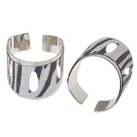 Iron Cuff Finger Ring, platinum color plated, colorful powder, nickel, lead & cadmium free, 20x21x13mm, US Ring Size:7.5, Sold By PC