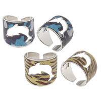 Iron Cuff Finger Ring, platinum color plated, colorful powder, more colors for choice, nickel, lead & cadmium free, 21x19x20mm, US Ring Size:7.5, Sold By PC