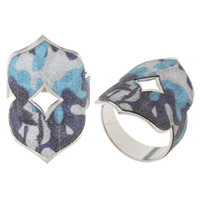 Iron Cuff Finger Ring, platinum color plated, colorful powder, nickel, lead & cadmium free, 20x31x20mm, US Ring Size:9, Sold By PC