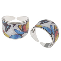 Iron Cuff Finger Ring, platinum color plated, colorful powder, nickel, lead & cadmium free, 20x14x19mm, US Ring Size:7.5, Sold By PC