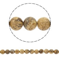 Picture Jasper Beads, Round, natural, different size for choice, Length:Approx 15 Inch, Sold By Strand