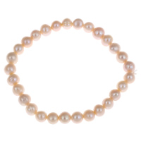 Cultured Freshwater Pearl Bracelets, Potato, natural, pink, 7-8mm, Length:Approx 7.5 Inch, Sold By Strand