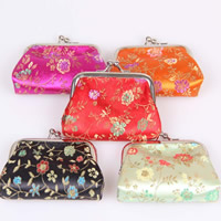 Coin Purse, Silk, with Iron, Trapezium, mixed colors, 85x65mm, 100PCs/Bag, Sold By Bag