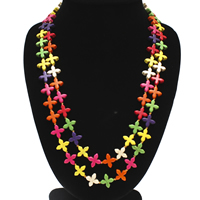 Synthetic Turquoise Sweater Necklace, Flower, multi-colored, 15x6mm, Length:Approx 45.5-47 Inch, Sold By Strand