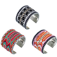 Zinc Alloy Friendship Cuff  Bangle, with Nylon Cord & Wool & Acrylic, platinum color plated, faceted & with rhinestone, more colors for choice, nickel, lead & cadmium free, 67x52mm, Inner Diameter:Approx 60mm, Length:Approx 8 Inch, Sold By PC
