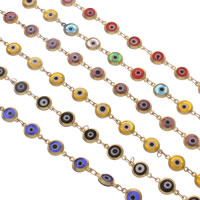 Evil Eye Jewelry Chains, Brass, with Lampwork, handmade & Islamic jewelry, more colors for choice, nickel, lead & cadmium free, 12x7x2.2mm, Sold By m