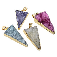 Natural Agate Druzy Pendant, Brass, with Ice Quartz Agate, Triangle, gold color plated, druzy style, more colors for choice, 17-21.5x31-38x7-14.5mm, Hole:Approx 3.5x6mm, Sold By PC