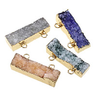 Natural Agate Druzy Pendant, Brass, with Ice Quartz Agate, Rectangle, gold color plated, druzy style, more colors for choice, 39-40.5x17.5-21x10-13mm, Hole:Approx 3.5mm, Sold By PC