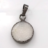 Natural Agate Druzy Pendant, Brass, with Ice Quartz Agate, Flat Round, plumbum black color plated, druzy style, 16x22x4mm, Hole:Approx 5x7mm, Sold By PC