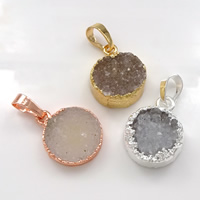 Natural Agate Druzy Pendant, Brass, with Ice Quartz Agate, Flat Round, plated, druzy style, more colors for choice, 13-16x18-20x5-8mm, Hole:Approx 5x7mm, Sold By PC