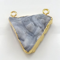 Natural Agate Druzy Pendant, Brass, with Ice Quartz Agate, Triangle, gold color plated, druzy style, 31.5x35x7mm, Hole:Approx 3mm, Sold By PC