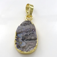 Natural Agate Druzy Pendant, Brass, with Ice Quartz Agate, Teardrop, gold color plated, druzy style, 14x26x7mm, Hole:Approx 5x7mm, Sold By PC