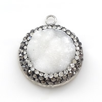Natural Agate Druzy Pendant, Brass, with Rhinestone Clay Pave & Ice Quartz Agate, Flat Round, platinum color plated, druzy style, 22x26x7mm, Hole:Approx 2.5mm, Sold By PC