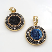 Natural Agate Druzy Pendant, Brass, with Rhinestone Clay Pave & Ice Quartz Agate, Flat Round, gold color plated, druzy style, mixed colors, 22x26x5mm, Hole:Approx 5x7mm, Sold By PC