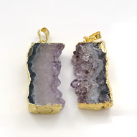 Natural Agate Druzy Pendant, Brass, with Ice Quartz Agate, gold color plated, druzy style, 16-18x40-42x6-7mm, Hole:Approx 5x7mm, Sold By PC