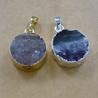 Natural Agate Druzy Pendant, Brass, with Ice Quartz Agate, Flat Round, plated, druzy style, mixed colors, 18-23x7-8mm, Hole:Approx 5x7mm, Sold By PC