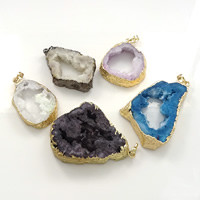 Natural Agate Druzy Pendant, Brass, with Ice Quartz Agate, plated, druzy style & mixed, 30-50x43-63x7-10mm, Hole:Approx 5x7mm, Sold By PC