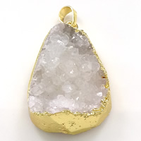 Natural Agate Druzy Pendant, Brass, with Ice Quartz Agate, Teardrop, gold color plated, druzy style, 26x41x13mm, Hole:Approx 5x7mm, Sold By PC