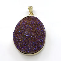 Natural Agate Druzy Pendant, Brass, with Ice Quartz Agate, Flat Oval, gold color plated, druzy style, 33x48x11mm, Hole:Approx 5x8mm, Sold By PC