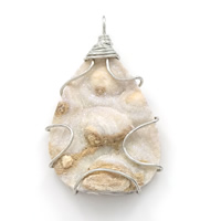 Natural Agate Druzy Pendant, Brass, with Ice Quartz Agate, Teardrop, platinum color plated, druzy style, 28x48x6mm, Hole:Approx 3x4.5mm, Sold By PC