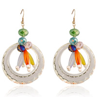 Resin Zinc Alloy Earring, with Crystal & Resin, iron earring hook, gold color plated, faceted, multi-colored, nickel, lead & cadmium free, 50x70mm, Sold By Pair