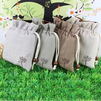 Linen Jewelry Pouches, with Cotton & Wood, mixed colors, 130x150mm, Sold By PC