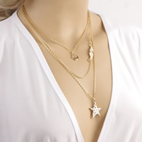Fashion Multi Layer Necklace, Zinc Alloy, with iron chain, Star, gold color plated, oval chain & 3-strand, nickel, lead & cadmium free, 40cm, Length:Approx 15.5 Inch, Sold By Strand