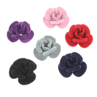 Aluminum Flower Beads, with velveteen covered, more colors for choice, nickel, lead & cadmium free, 21x11mm, Hole:Approx 2mm, 200PCs/Bag, Sold By Bag