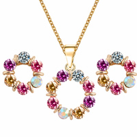 Rhinestone Zinc Alloy Jewelry Set, earring & necklace, brass post pin, Flower, gold color plated, oval chain & with rhinestone, multi-colored, nickel, lead & cadmium free, 19x19mm,16x16mm, Length:Approx 15.7 Inch, Sold By Set