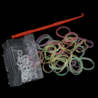 Loom Bands, Rubber, with Plastic, attachted crochet hook & with plastic S clip & transparent, mixed colors, 17x1mm, Approx 300PCs/Bag, Sold By Bag