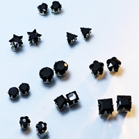 Magnetic Earring, Zinc Alloy, with Crystal, platinum color plated, different styles for choice & faceted, 5x5mm, Sold By Pair
