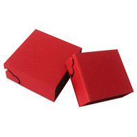 Cardboard Jewelry Set Box, with Grosgrain Ribbon, Square, different styles for choice, red, Sold By PC