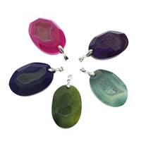 Natural Agate Druzy Pendant, Ice Quartz Agate, with iron bail, Flat Oval, platinum color plated, druzy style & faceted, more colors for choice, 30x43x11mm-33x46x11mm, Hole:Approx 4x6mm, Sold By PC